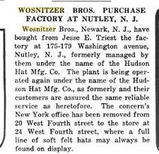 1921 Hudson Hat Co purchase announcement.