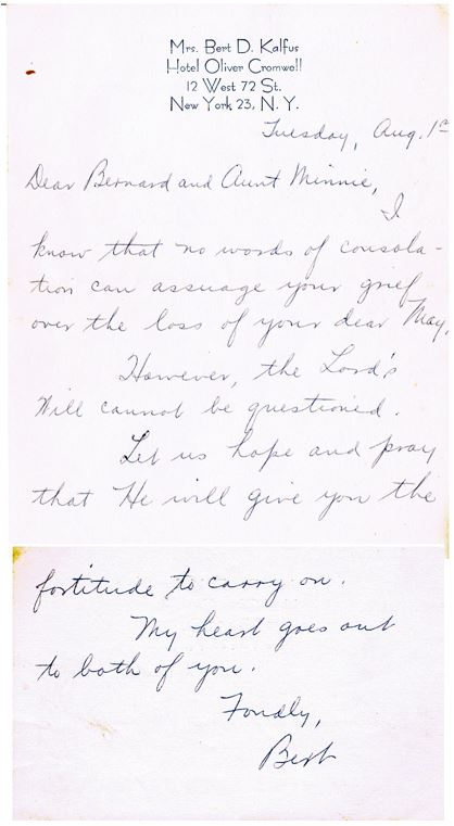 Burt Kalfus Sympathy Letter