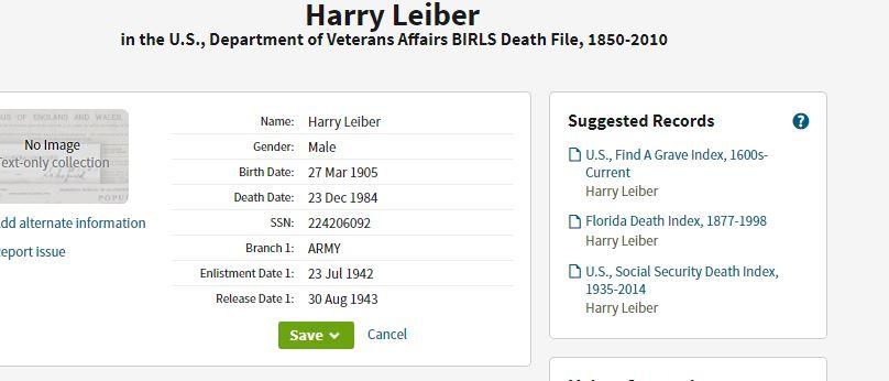 Harry Leber Army Record