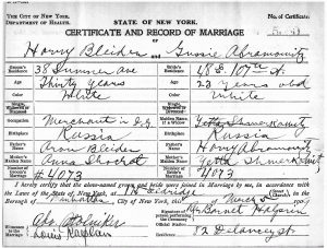 Harvey and Gussie's marriage Certificate