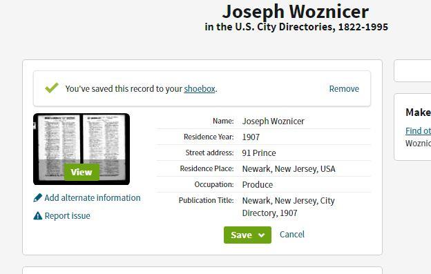 Joseph Wosnitzer Newark Directory 1907