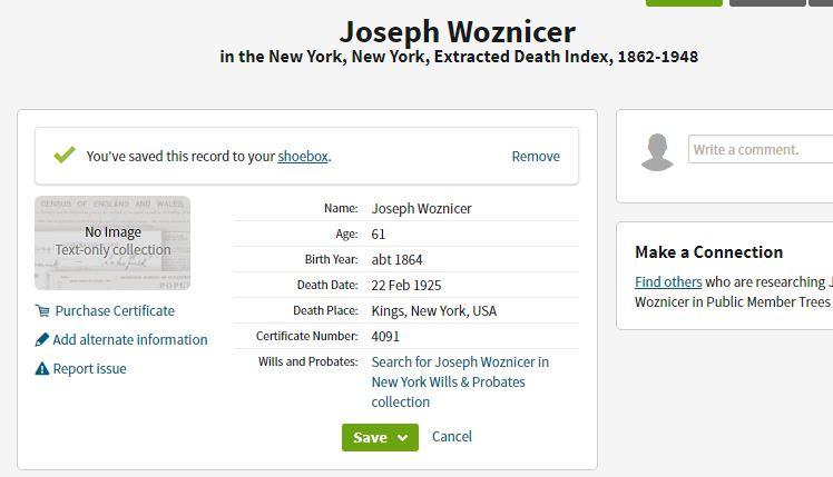 Joseph Wosnitzer Death 1925