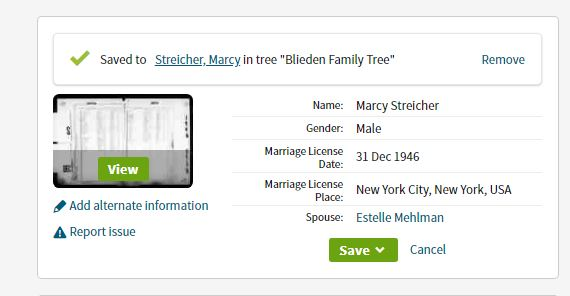 Marcy and Estelle Wedding License