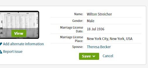 Wilton Streicher and Theresa Becker miarriage license