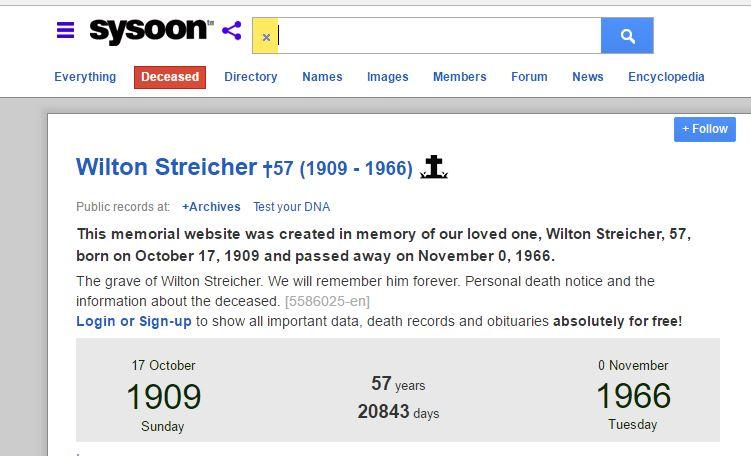 Wilton Streicher Death Info