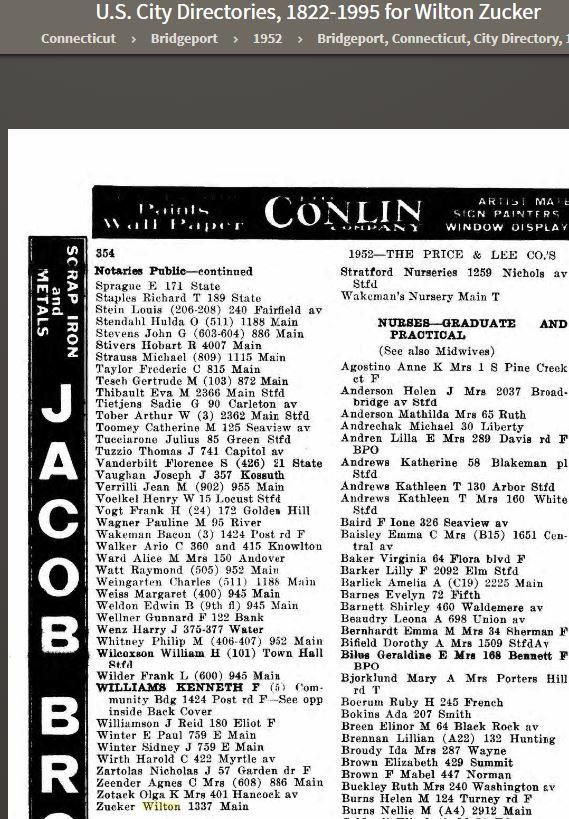 Wilton Zucker 1952 City Directory