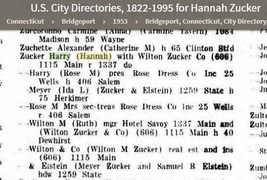 Hannah 1953 City Directory