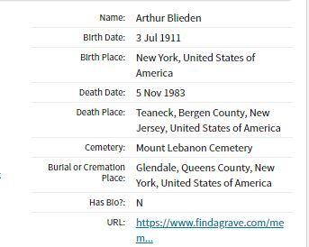 Arthur Blieden Cemetery Information