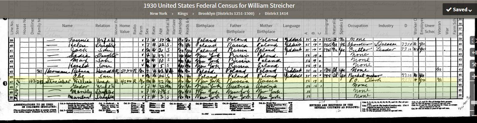 Goldie 1930 Census