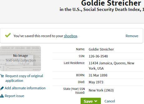 goldie Streicher death information