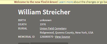 William Streicher death information