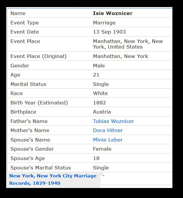 Isie and Minnie Marriage Record
