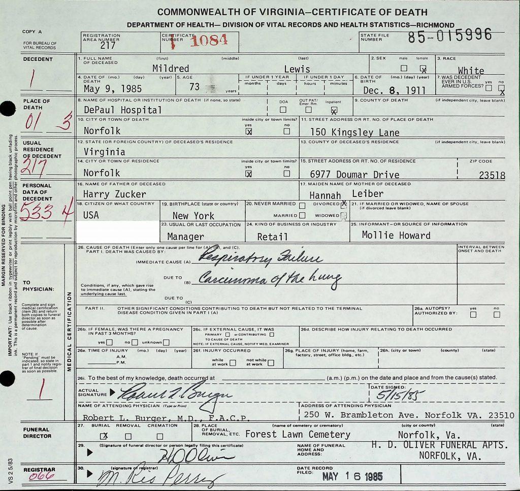 Millie Lewis Death Certificate