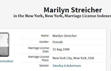 Marilyn and Stanley marriage license