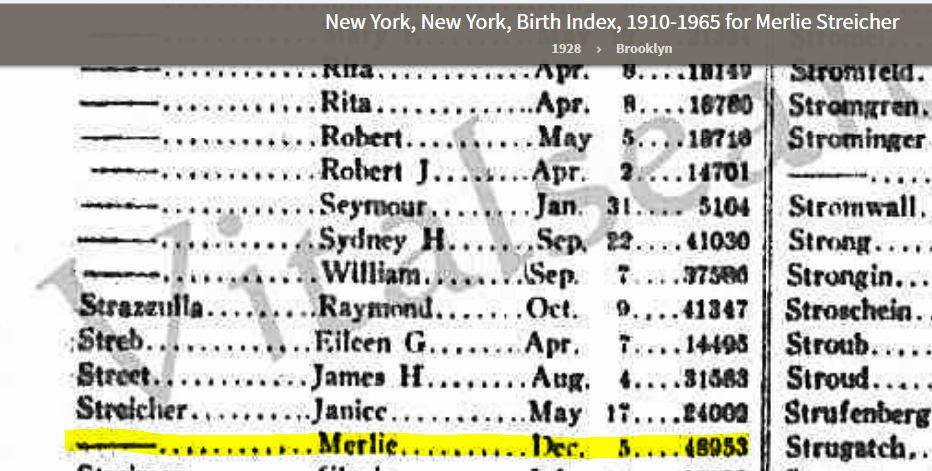 Merlie birth record
