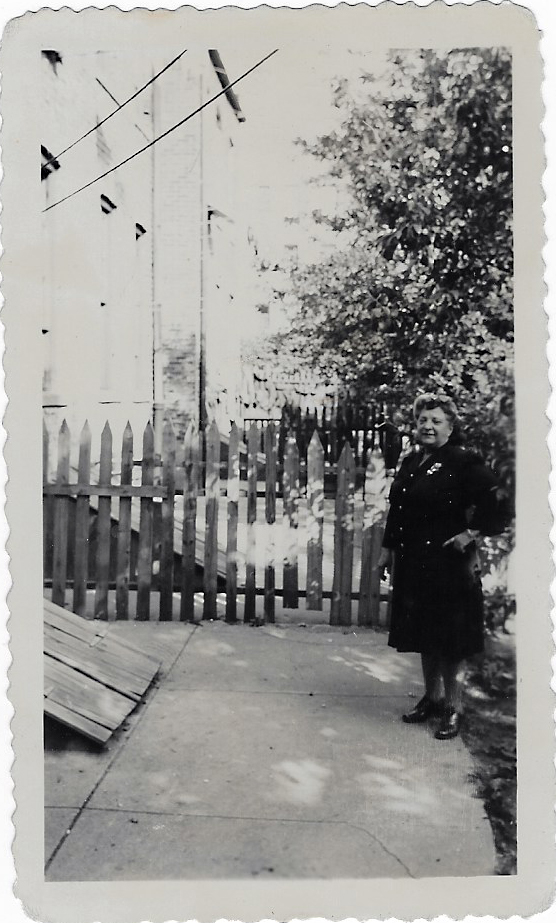 Minnie Laber - in backyard of House of the Four Sisters in 1944