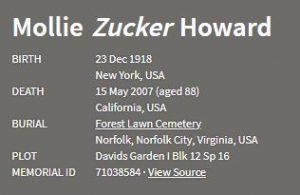 Mollie Zucker death information