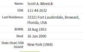 Scott Winnick death information