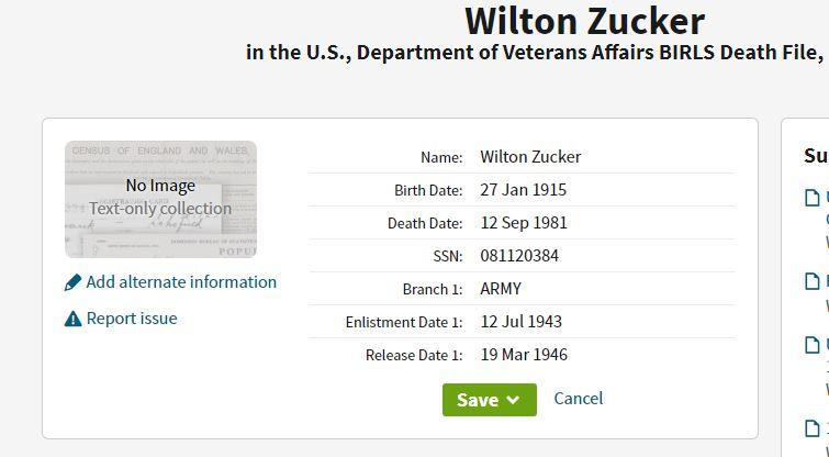 Wilton Zucker Military Service