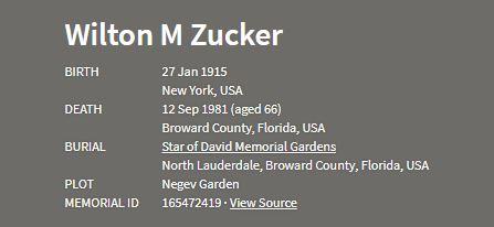 Wilton Zucker death information