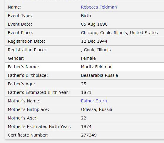 Beattie Feldman's birth index