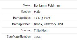 Ben Feldman and Tillie Klein marriage index