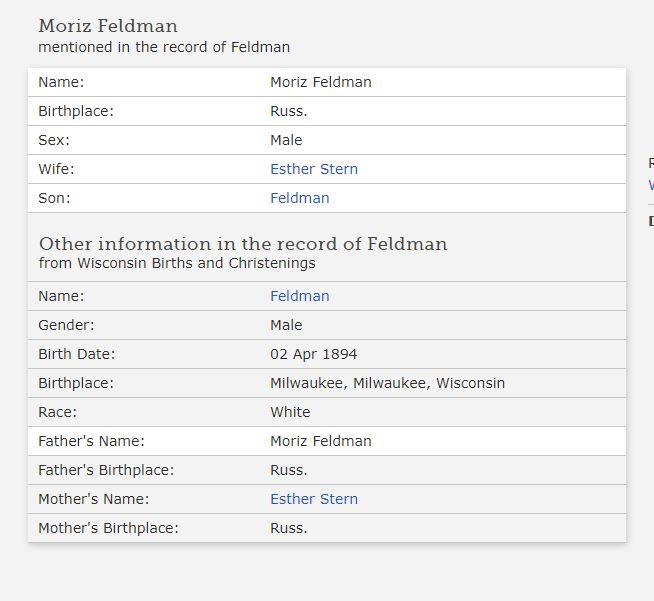 Ben Feldman birth certificate - 1894