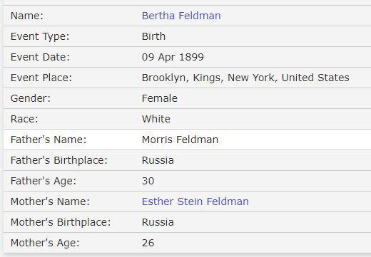 Bertha Feldman Birth Info