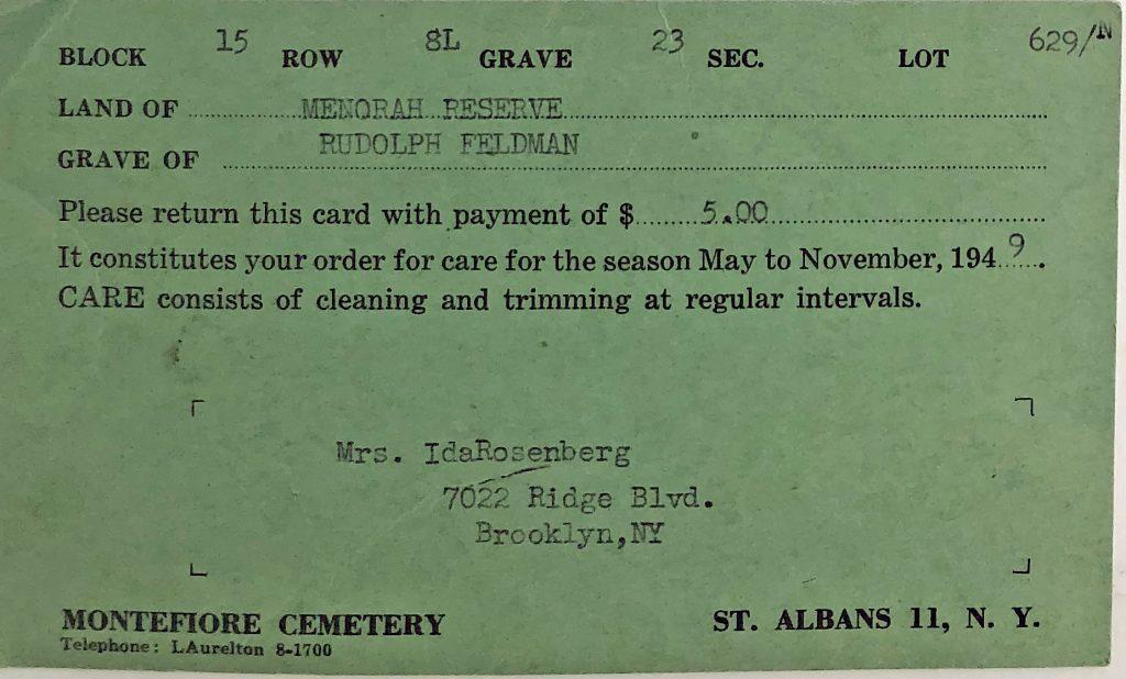 Care for Rudy Feldman's Grave - 1949
