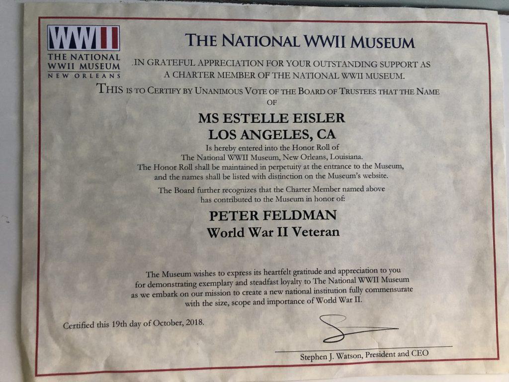 Peter Feldman WWII Museum