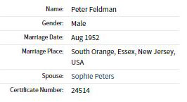 Peter's Marriage Record