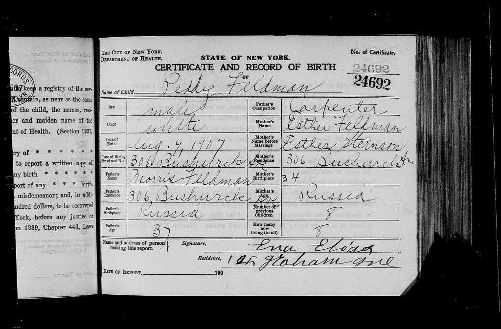 Peter's Birth Certificate