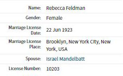 Beattie Feldman marriage index 1923