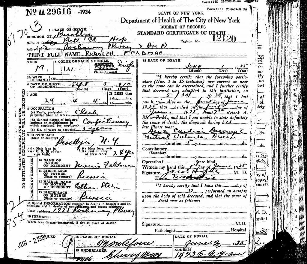 Rudy Feldman Death Certificate - 1935