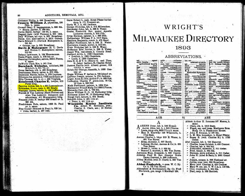 1893 MIlwaukee City Directory