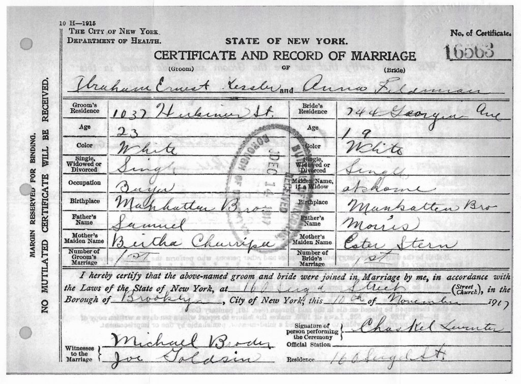 Abe and Anna's Wedding Certificate