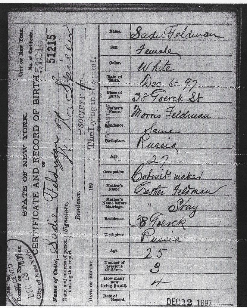 Anna Feldman birth certificate - 1897