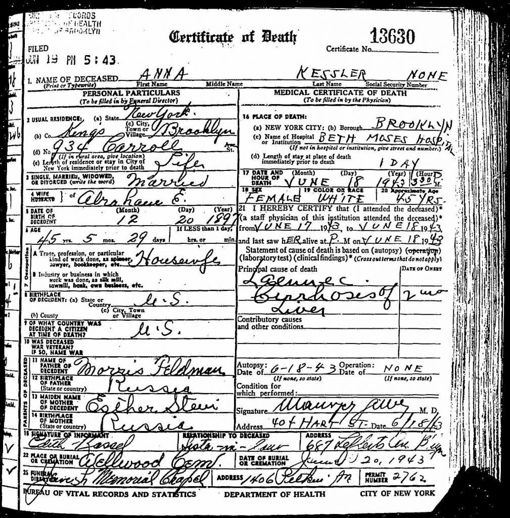 Anna Feldman Kessler death certificate