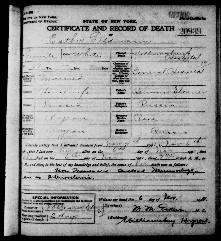 Esther Feldman death certificate -1911
