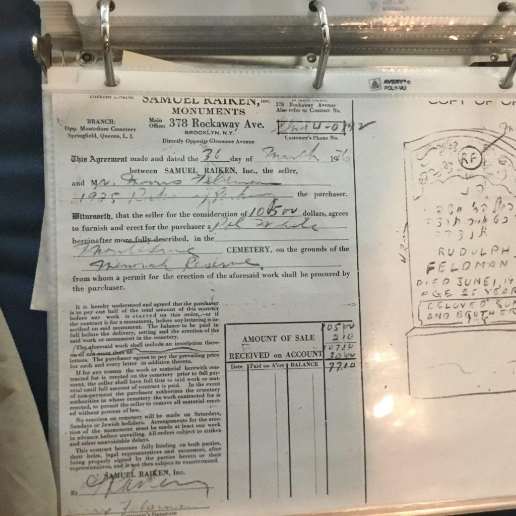 Rudy Feldman's tombstone contract.