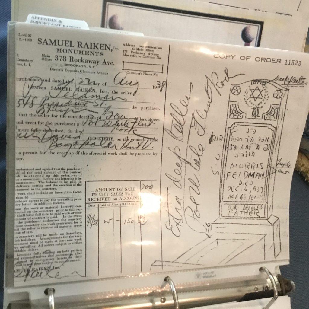 Morris Feldman's tombstone plan.