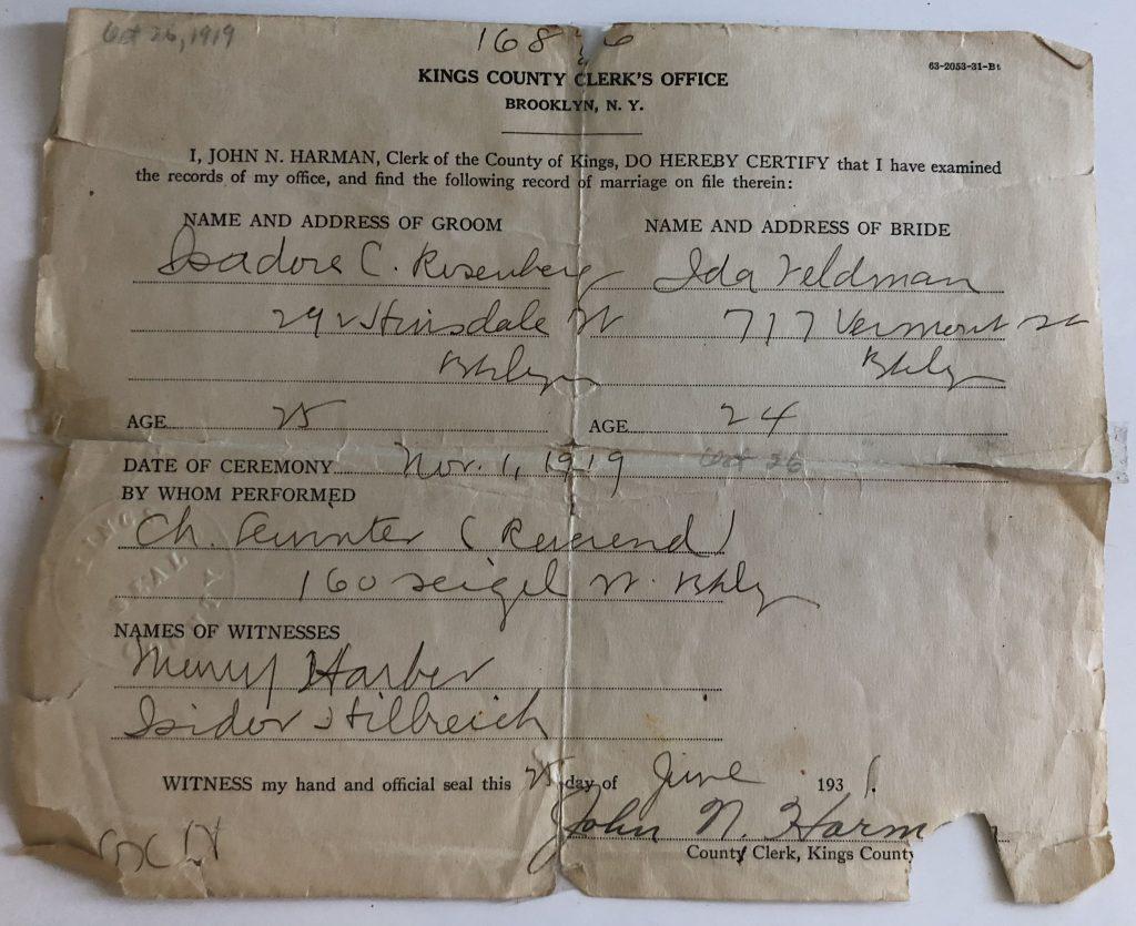 Ida and Izzy's Wedding License - 1919