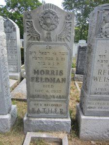 Morris Feldman's grave in Beth David Cemetery.