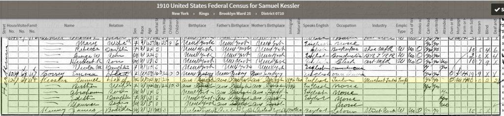 1910 Census for Samuel Kessler