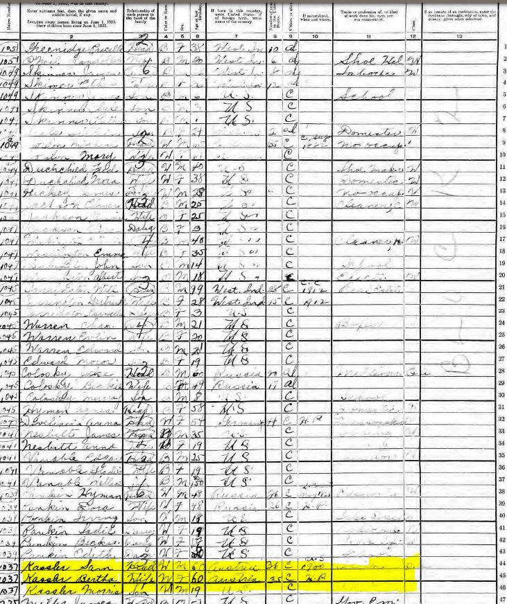 1925 Census for Samuel Kessler