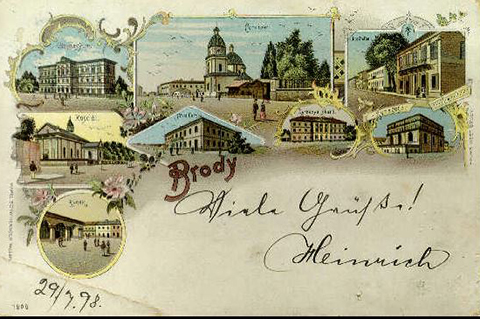Antique Postcard of Brody in 1898