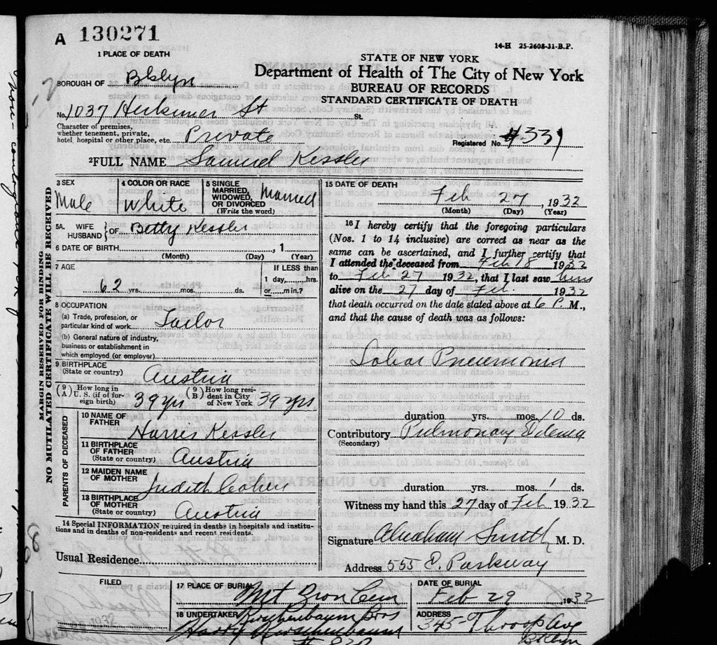 Samuel Kessler Death Certificate