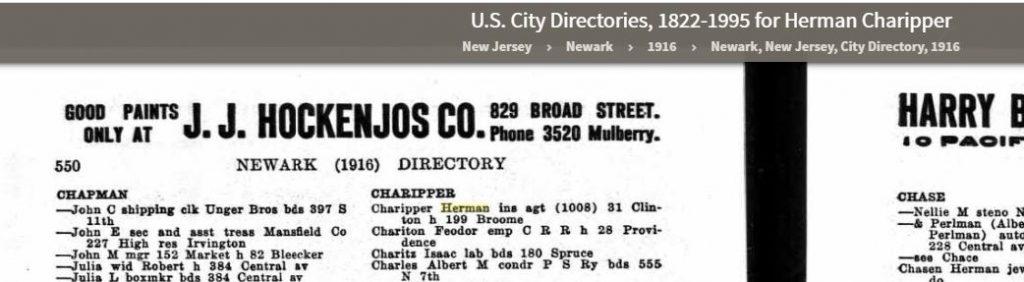 1916 Newark Directory