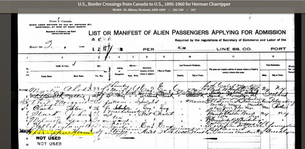 1916 Ship Manifest