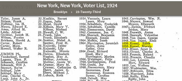 Portion of 1924 Voter List for Brooklyn, NY